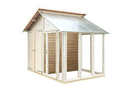Plus Gerätehaus Gewächshaus mit Glasanbau 316 x 216 x 285 cm