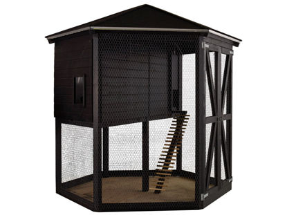 Plus Hühnerhaus Hasenhaus Premium 6-eckig 240 x 240 x 270 cm schwarz