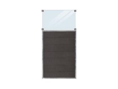 Plus Futura WPC Sichtschutzzaun mit Glas 90 x 180 cm
