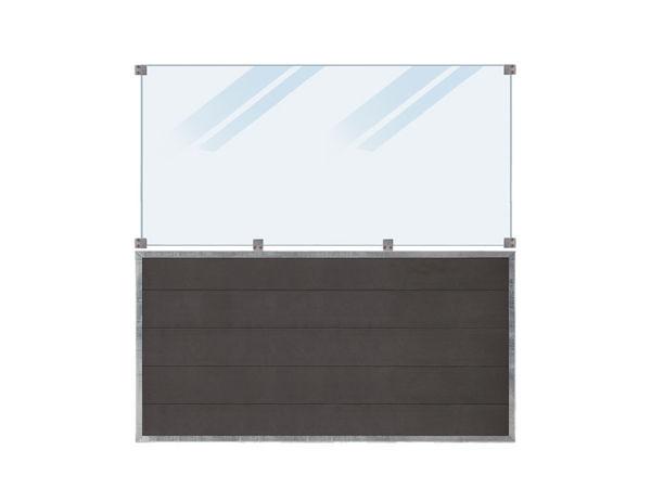 Plus Futura WPC Zaun mit satiniertem Glas 180 x 180 cm