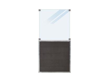 Plus Futura WPC Zaun mit mattem Glas 90 x 180 cm