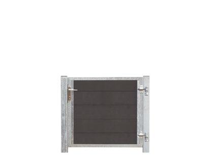 Plus Futura WPC Tor 99 x 91 cm + 16 cm Pfosten zum Einbetonieren Türanschlag rechts