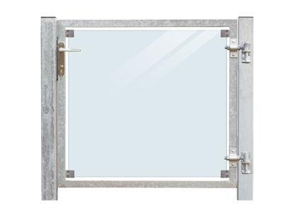 Plus Zauntor Glas 99 x 91 cm + 16 cm Pfosten zum Verbolzen Anschlag rechts