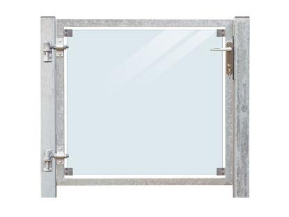 Plus Zauntor Glas 99 x 91 cm + 16 cm Pfosten zum Einbetonieren Anschlag links