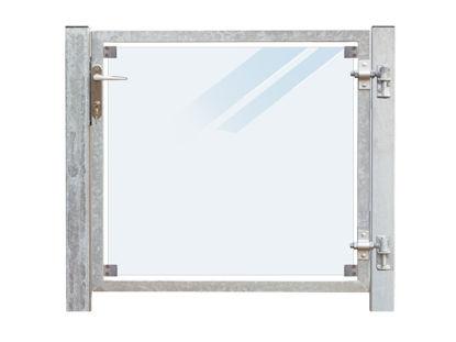 Plus Zauntor Glas matt 99 x 91 cm + 16 cm Pfosten zum Einbetonieren Anschlag rechts