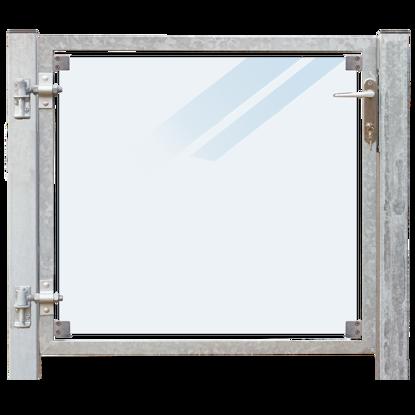 Plus Zauntor Glas matt 99 x 91 cm + 16 cm Pfosten zum Einbetonieren Anschlag links