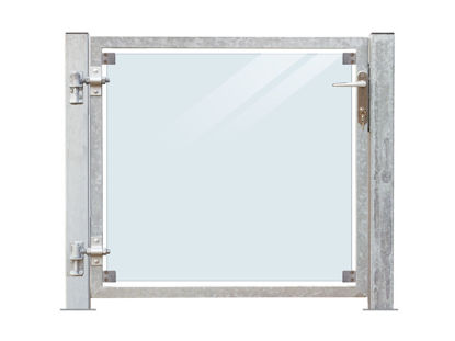 Plus Zauntor Glas 99 x 91 cm + 16 cm Pfosten zum Verbolzen Anschlag links