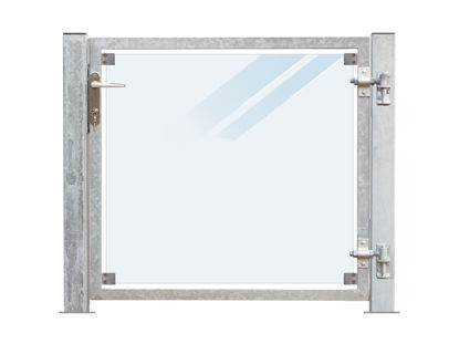 Plus Zauntor Glas matt 99 x 91 cm + 16 cm Pfosten zum Aufbolzen Anschlag rechts