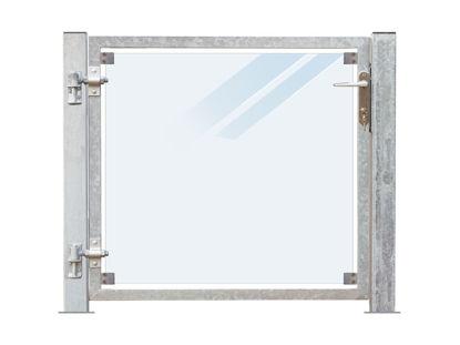 Plus Zauntor Glas matt 99 x 91 cm + 16 cm Pfosten zum Aufbolzen Anschlag links