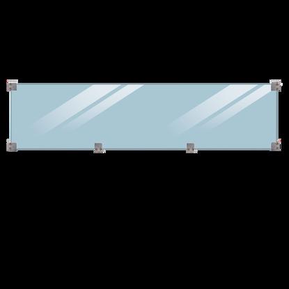 Plus Klink - Plank Glaszaun gehärtet klar Glaselement mit Beschlag - schwarz Länge 174 cm