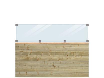 Plus Plank Profilzaun mit Glas und Fichte druckimprägniert 174 x 125 cm