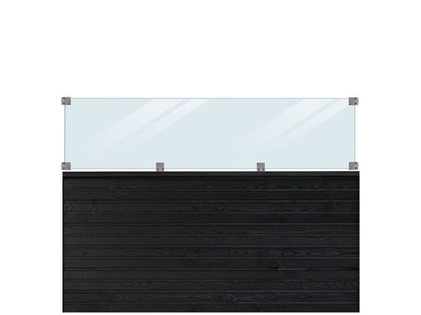 Plus Plank Profilzaun mit Glas und Fichte schwarz 174 x 125 cm