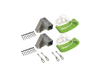 Plus Cubic Schaukelbeschlag-Set mit Beschlag, Aufhängung, Schaukelsitze limefarben und Kleineisen
