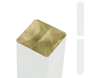 Plus Pfosten mit Spitzkopf 9 x 9 x 210 cm gehobelt - gefast NTR-A weiss farbgrundiert