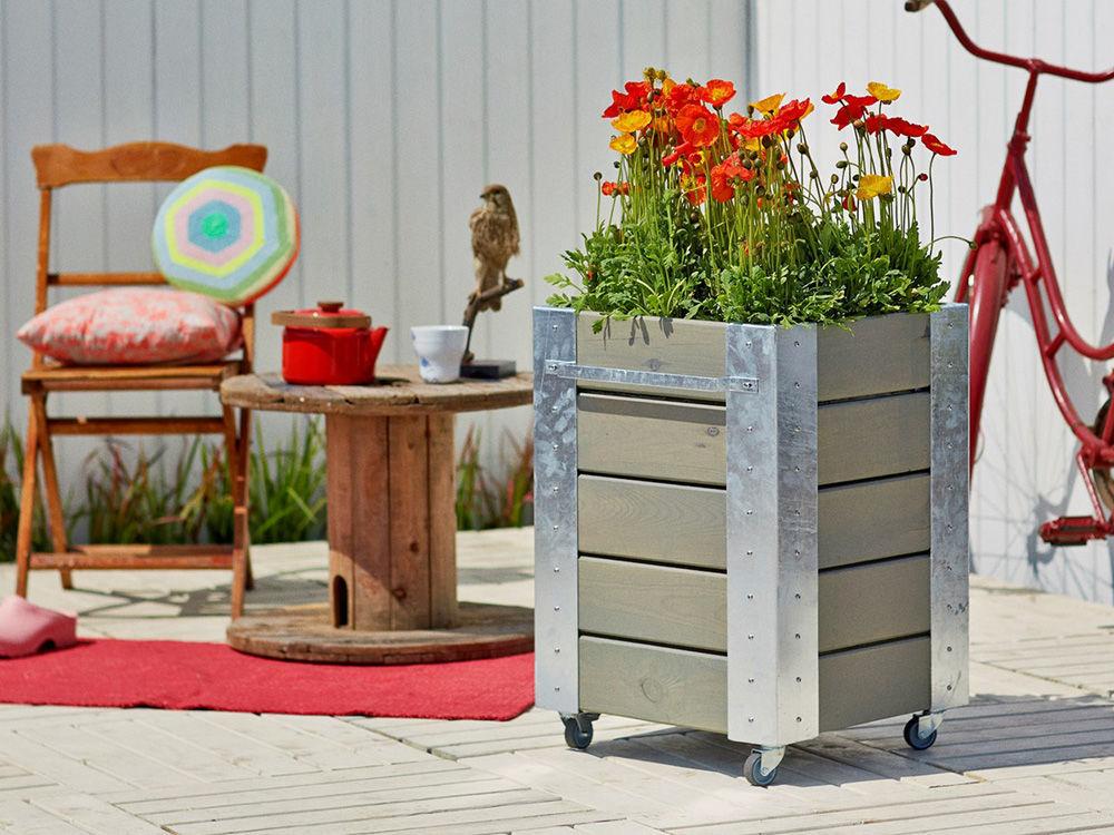 Plus Cubic rollbarer Blumenkasten mit Regal 87 x 50 x 95 cm graubraun