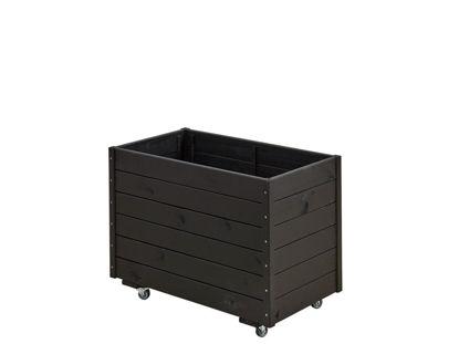 Plus rollbarer Pflanzkasten mit Spalier Fichte-Kiefer schwarz 88 x 48 x 66 cm