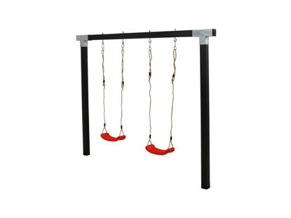 Plus Cubic Schaukelgestell mit 2 roten Schaukeln 268 x 9 x 209 cm schwarz