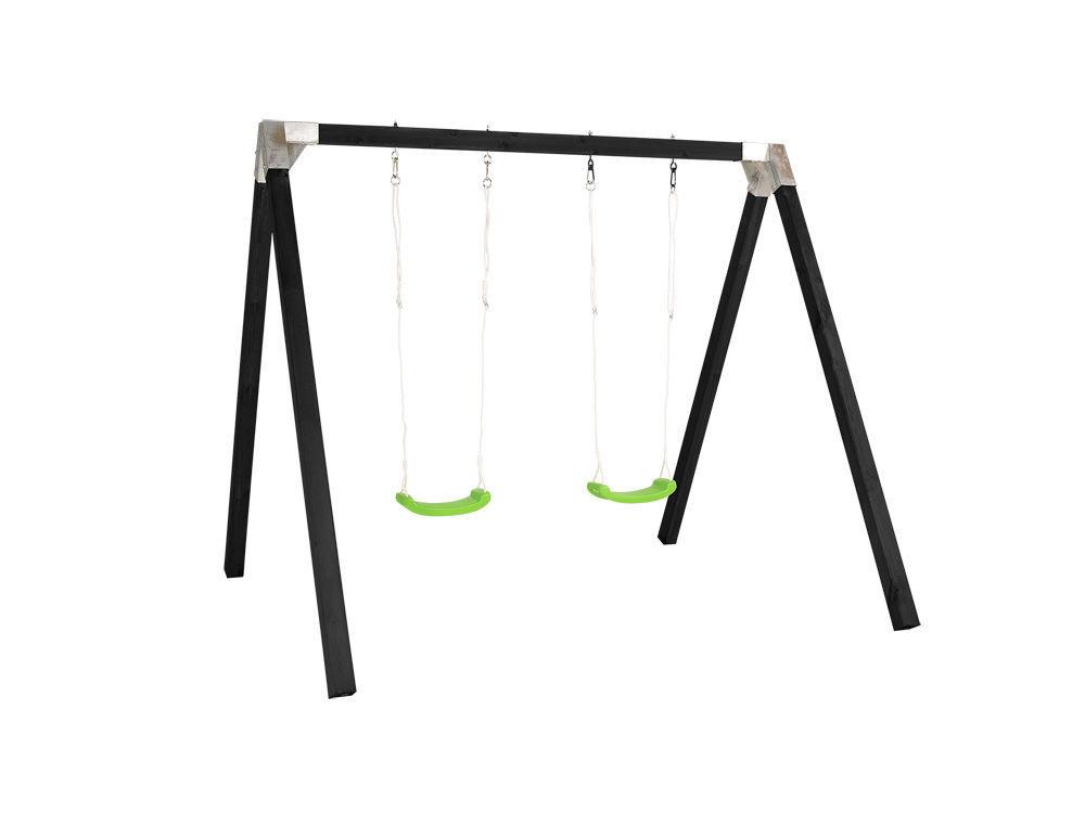 Plus Gartenschaukel Schaukelgestell Luxus schwarz 268 x 260 x 225 cm mit 2 limefarbenen Schaukeln
