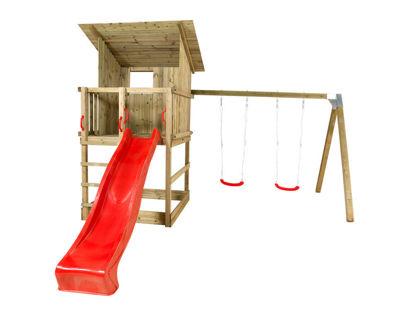 Plus Play Spielturm mit Dach, Schaukelbalken und roter Rutsche 460 x 395 x 283 cm