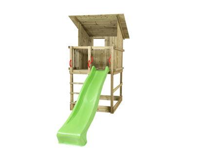 Plus Play Spielturm mit Dach und grüner Rutsche 350 x 132 x 283 cm