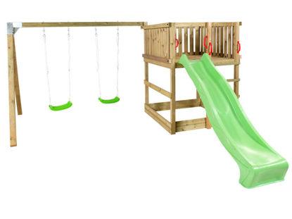 Plus Play Spielturm mit Schaukelbalken und grüner Rutsche 460 x 395 x 200 cm
