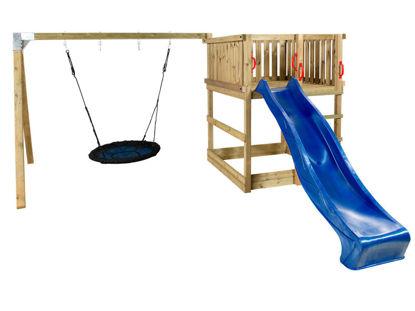 Plus Play Spielturm mit Schaukelbalken und blauer Rutsche 460 x 395 x 200 cm