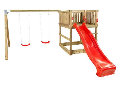 Plus Play Spielturm mit Schaukelbalken und roter Rutsche 460 x 395 x 200 cm