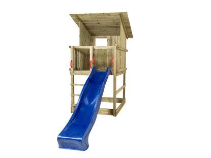 Plus Play Spielturm mit Dach und blauer Rutsche 350 x 132 x 283 cm