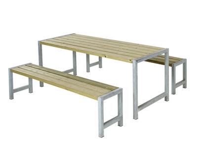 Plus Plankengarnitur 186 cm mit Tisch und 2 Bänke druckimprägniert