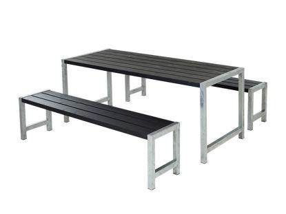 Plus Plankengarnitur 186 cm mit Tisch und 2 Bänke schwarz