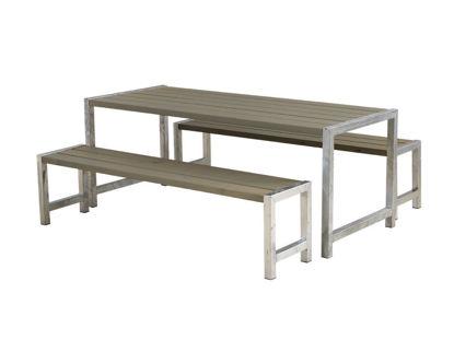Plus Plankengarnitur 186 cm mit Tisch und 2 Bänke graubraun