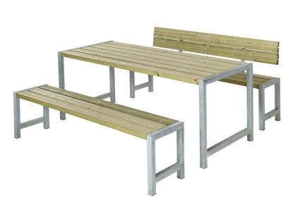 Plus Plankengarnitur mit Rückenlehne 186 cm - Tisch, 2 Bänken und 1 Rückenlehne druckimprägniert