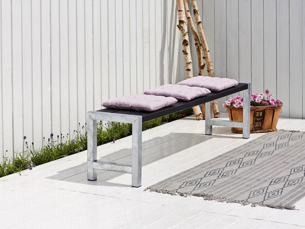 Plus Plankengarnitur mit 2 Rückenlehnen 186 cm - Tisch, 2 Bänken und 2 Rückenlehnen schwarz