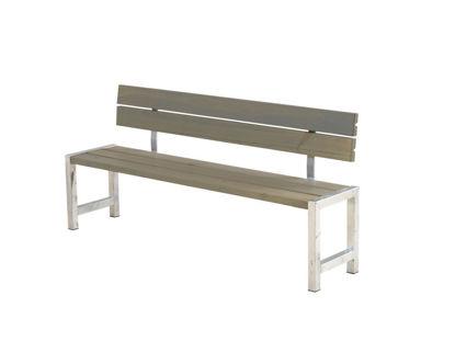 Plus Plankenbank mit Rückenlehne 176 cm graubraun