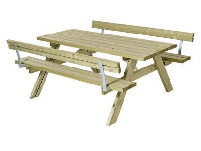 Plus Kombimöbel mit Klappsitzen und 2 Rückenlehnen Kiefer-Fichte unbehandelt 177 cm
