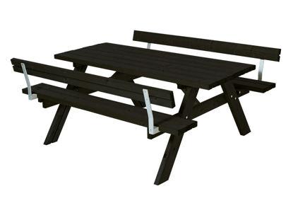 Plus Kombimöbel mit Klappsitzen und 2 Rückenlehnen Kiefer-Fichte schwarz  177 cm