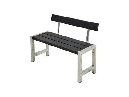Plus Cafébank mit Rückenlehne Kiefer-Fichte schwarz 127 cm