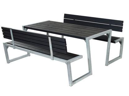 Plus Zigma Kombimöbel mit 2 Rückenlehnen Kiefer-Fichte schwarz 176 cm