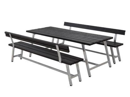 Plus Royal Garnitur Kiefer-Fichte schwarz mit Tisch, 2 Bänken und 2 Rückenlehnen 207 cm