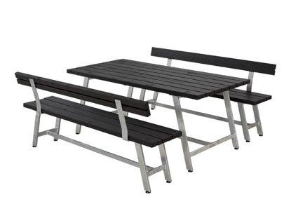 Plus Royal Garnitur Kiefer-Fichte schwarz mit Tisch, 2 Bänken und 2 Rückenlehnen 177 cm