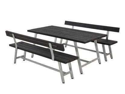 Plus Royal Garnitur Recycling Kunststoff schwarz mit Tisch, 2 Bänken und 2 Rückenlehnen 177 cm