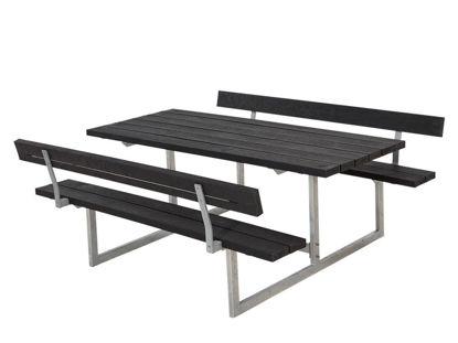 Plus Basic Kombimöbel mit 2 Rückenlehnen Recycling Kunststoff schwarz 177 x 184 cm Gastronomie