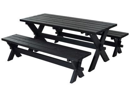 Plus Nostalgi Plankengarnitur 177 cm schwarz Tisch und 2 Bänke