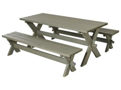Plus Nostalgi Plankengarnitur 177 cm graubraun Tisch und 2 Bänke
