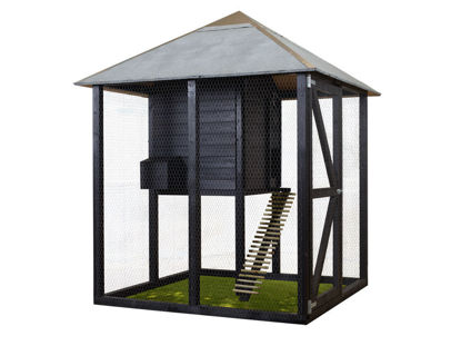 Plus Hühnerhaus Hasenhaus Premium  4-eckig 194 x 194 x 270 cm schwarz