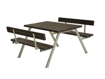 Plus Alpha Kombimöbel mit 2 Rückenlehnen Recycling-Kunststoff schwarz 118 x 185 x 73 cm