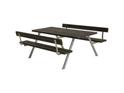 Plus Alpha Kombimöbel mit 2 Rückenlehnen Recycling-Kunststoff schwarz 177 x 185 x 73 cm