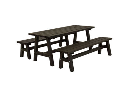 Plus Country Plankengarnitur 177 cm 1 Tisch und 2 Bänke schwarz