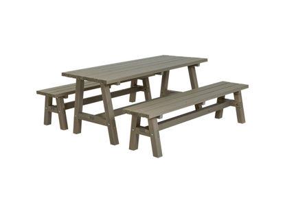 Plus Country Plankengarnitur 177 cm 1 Tisch und 2 Bänke graubraun