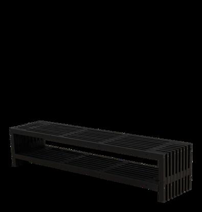 Plus Rustik Trallebank mit Schuhregal Kiefer-Fichte schwarz 218 cm